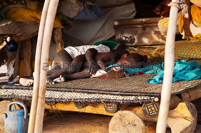 tuareg children sleep in tuareg-tent in niger africa